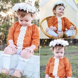 Boutique Baby Girls Rust Boho Romper
